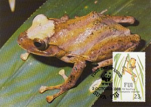 Fiji 1988 Maxicard Sc #592 23c Fiji Tree frog WWF
