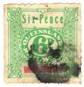 (I.B) Australia - Queensland Railways : Parcel Stamp 6d (Roma Street)