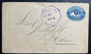 1908 Guatemala Vintage Postal Stationery Cover To Coban