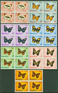 EDW1949SELL : LESOTHO 1973 Sc #140-46 Butterflies Blocks of 4. VF MNH. Cat $81.