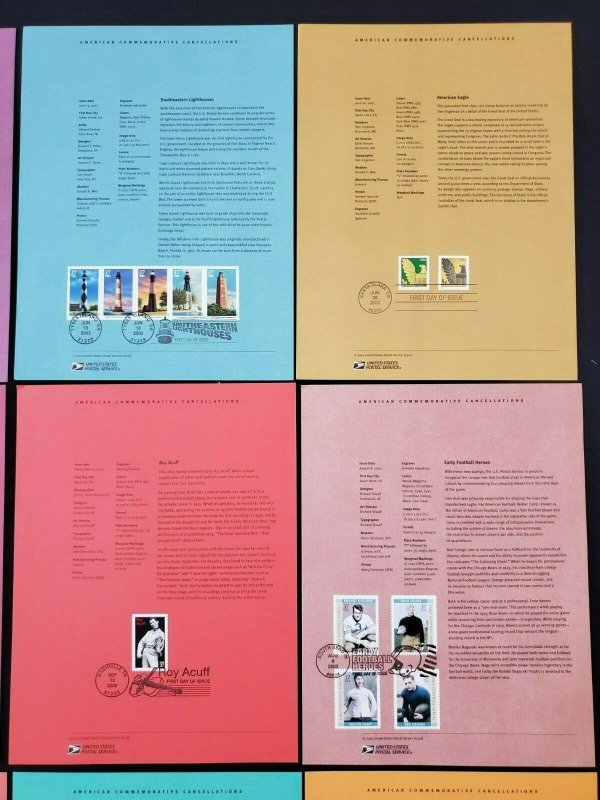 US 2003 Lot of 12 USPS American Commemorative Cancellations Stamp Panels