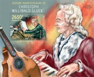Central Africa - 2014 Christoph Willibald Gluck-Souvenir Sheet-3H-644
