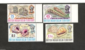 1974 British Indian Ocean Territory SC#59-62 WILD LIFE shells MNH set of stamps