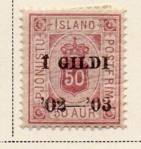 Iceland Sc O30 1902 50 aur official stamp overprinted  mint