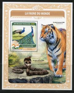 TOGO 2016  FAUNA OF THE WORLD INDIA'S OFFICIAL  BIRD SNAKE & TIGER  S/S  MINT NH