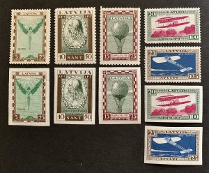 Latvia Stamp Sets 1932 Michel 210-214A+B MNH VF
