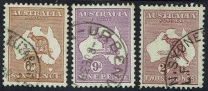 AUSTRALIA 1931 KANGAROO 6D 9D AND 2/- WMK C OF A USED