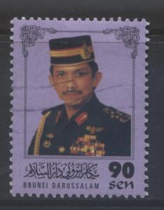 BRUNEI -Scott -511- Sultan Portrait -1996- VFU- Lilac -Single 90c Stamp1