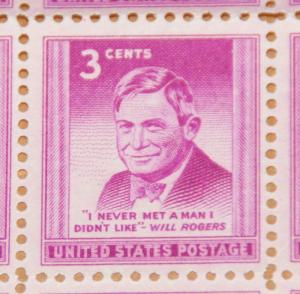 1948 sheet, Will Rogers Sc# 975