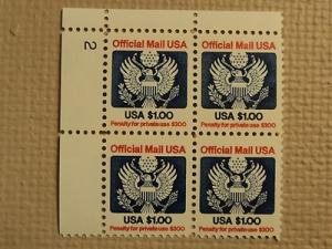 USPS Scott O132 $1 Official Mail USA 1983 Mint NH Plate B...