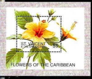 #8187 ST VINCENT 1996 FLORA FLOWERS YV BL 345 MNH