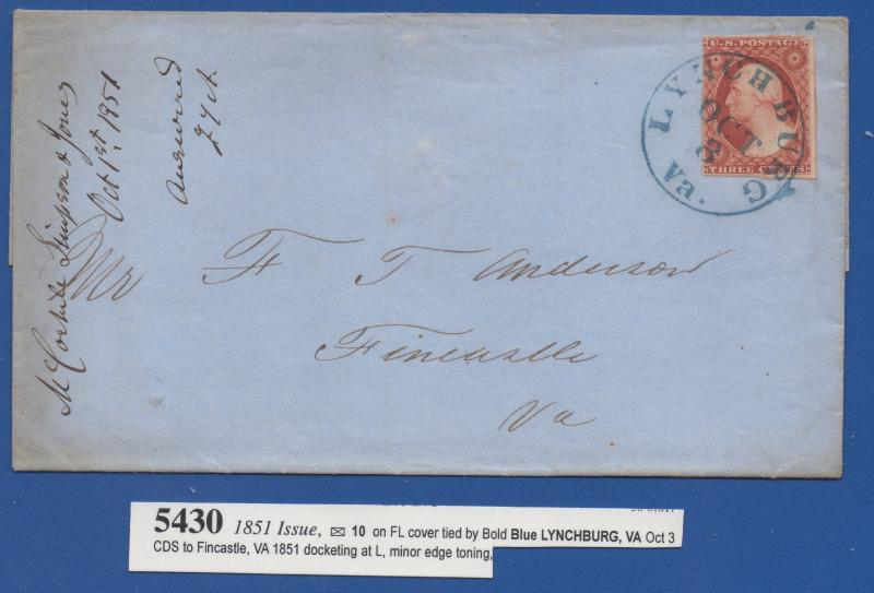 *US 19th Century Cover Scott #10 Tied By Blue CDS, Lynchburg, Va, Oct 3