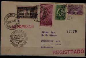 Brazil/Germany registered Zeppelin cover 29.5.36