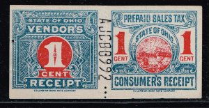 US TAX STAMP STATE OHIO PREPAID SALES TAX PAID STAMP 1C PAIR