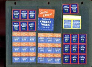 38 VINTAGE NATIONAL CHEESE WEEK POSTER STAMPS (L888) KRAFT CHEESE SERVE & CHOOSE