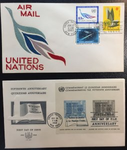 United Nations #85,145,754,755,C8,C9,C10 FDCs LOT