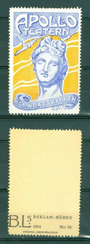 Sweden. Poster Stamp 1914. MNH.  Apollo Theater Stockholm.  Hamngatsbacken