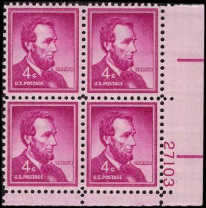 US #1036a ABRAHAM LINCOLN MNH LR PLATE BLOCK #27103 DURLAND .50¢