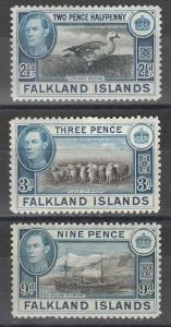 FALKLAND ISLANDS 1938 KGVI PICTORIAL 21/2D 3D AND 9D