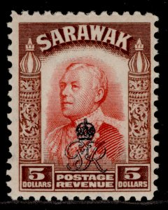 SARAWAK GVI SG164, $5 scarlet & red-brown, LH MINT. Cat £13.