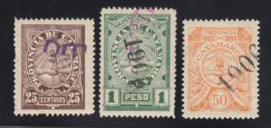 Argentina, Catamarca, Forbin 62A, 74A, 79. 1905-1906 Fiscals, 3 different, F-VF