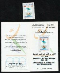 2000- Tunisia- Announcement of the Tunis 2001 Mediterranean Games- Flyer+Set 1v.