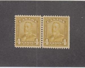 CANADA (MK141) # 152 VF-MNH  4cts 1929 KGV SCROLL PAIR /BISTRE CAT VALUE $140