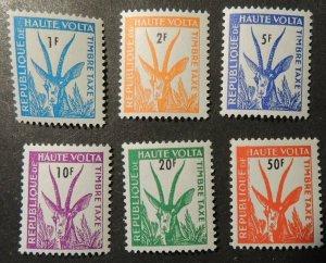 Upper Volta 1962 postage dues 1F-50F 6v MNH animals gazelle