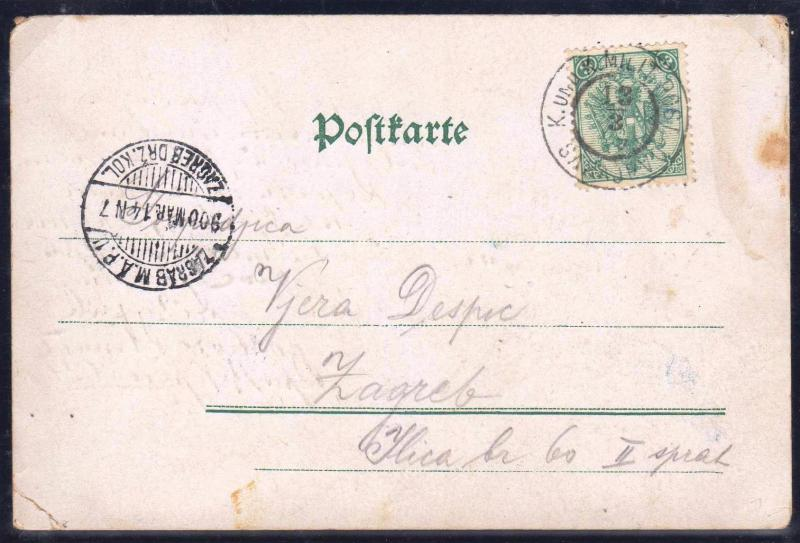AUSTRIA BOSNIA 1900. POSTCARD 3 kreuzer used for postage of 5 heller INTERSTING