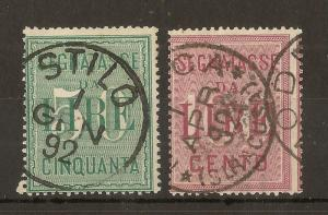 Italy 1884 Postage Dues SG.D40-D41 Fine Used Cat£128