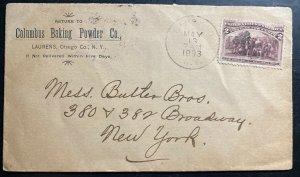 1893 Laurens NY USA Advertising Cover To New York Columbus Baking Powder