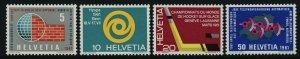 Switzerland 402-5 MNH Ice Hockey, Map, Symbolic Sun (HYSPA)