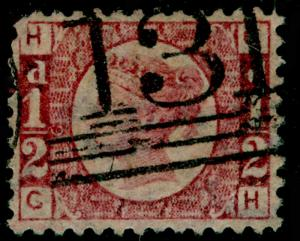SG48, ½d rose-red PLATE 6, USED. Cat £25. GH