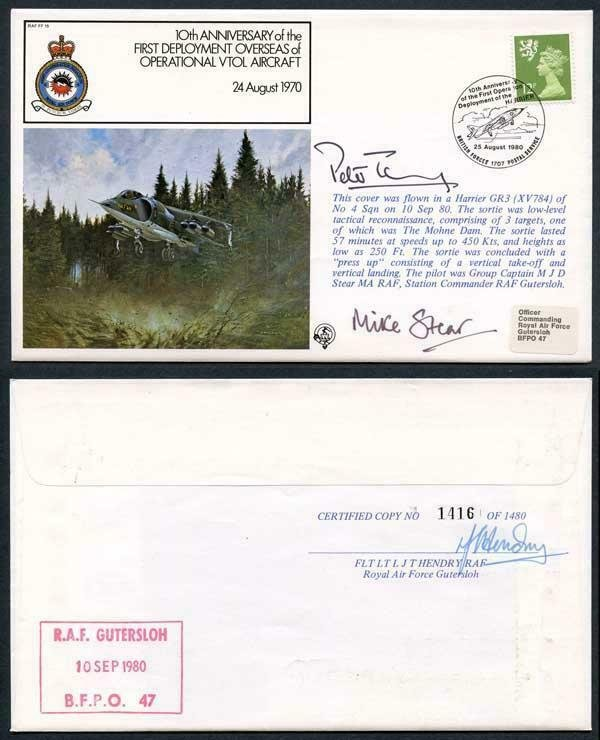 FF15c 10th Ann 1st deployment Overseas Signed by Gp Capt and Air Marshal (C)