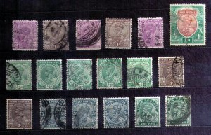 India 1911 - 1930 KGV Used Selection F-VF - 18 Used Stamps
