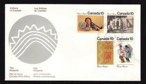 Canada-Sc#578-81-stamps on FDC including 579i variety-missing medallion-The Iroq