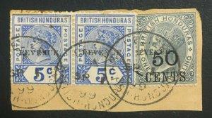 MOMEN: HONDURAS SG #66,69 1899 USED ON PIECE LOT #61256