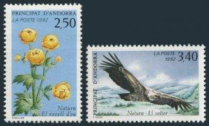 Andorra Fr 418-419,MNH.Michel 441-442. European Globeflower,Vulture,1992.