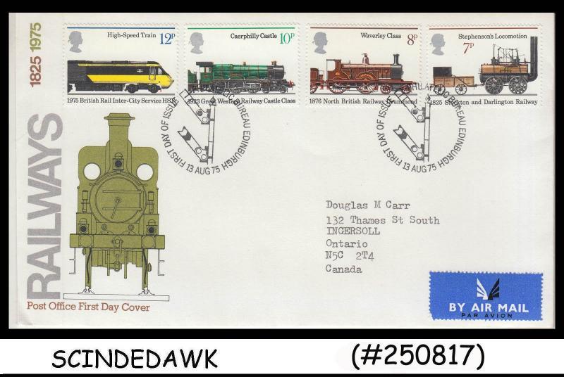 GREAT BRITAIN - 1975 RAILWAYS / TRAINS LOCOMOTIVES - 4V - FDC