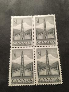 Canada 1953 $1 Totem Pole 2016 Scott #321 Mint Block of Four One Stamp NH O/WVF