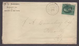 **US 19th Century Cover Scott #158, ELkhart City, IL, 9/26/1878, Letter Enclosed