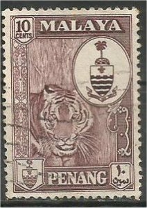 PENANG, 1960, used 10c, Crest  Scott 61