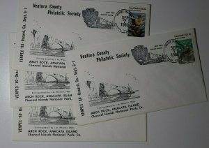 VENPEX Oxnard CA 1980 Arch Rock Anacapa Island 1830-1877 Cachet Cover Set 4