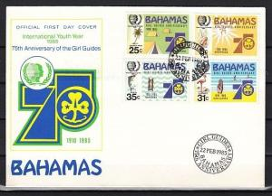 Bahamas, Scott cat. 572-575. Girl Scouts Anniversary issue. First day cover.
