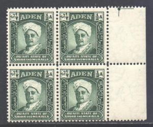 Aden Mukalla Scott 1 - SG1, 1942 Sultan 1/2a Block of 4 MNH**