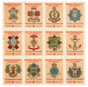 (I.B) Cinderella Collection : British Red Cross - Scottish Regiments Mini-Sheet