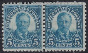 US STAMP #637 1926-28 Rotary Stamp 5¢ Theodore Roosevelt MNH/OG stamp PAIR