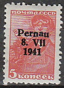 Stamp Germany Parnu Mi 05II WWII 1941 Estonia War Occupation Russia Pernau MH