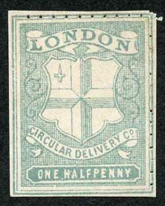 Circular Delivery SGCD32 London 1/2d greenish grey unused