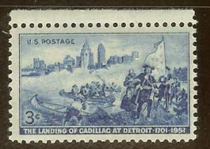US #1000 3c Detroit Skyline & Cadillac Landing
